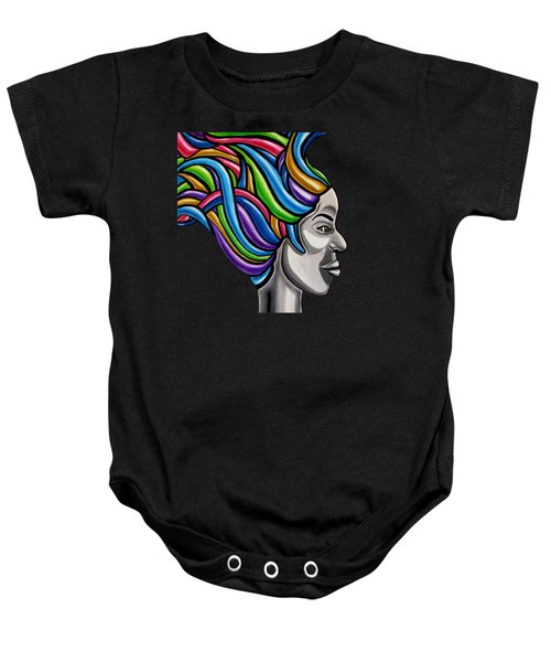 Colorful 3d Abstract Painting, Black Woman, Colorful Hair Art Artwork - African Goddess Baby Onesie