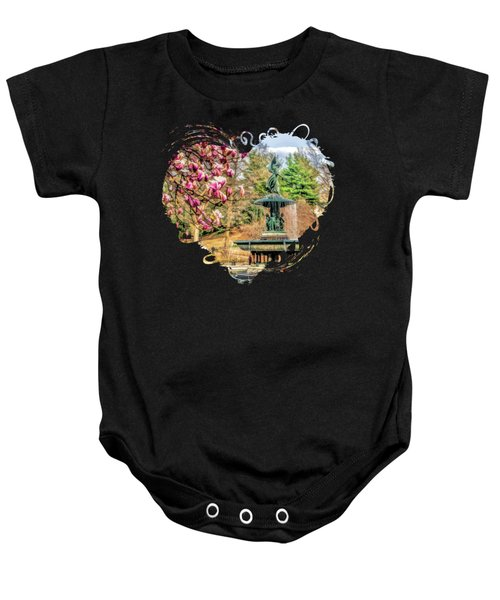 New York City Central Park Bethesda Fountain Blossoms Baby Onesie