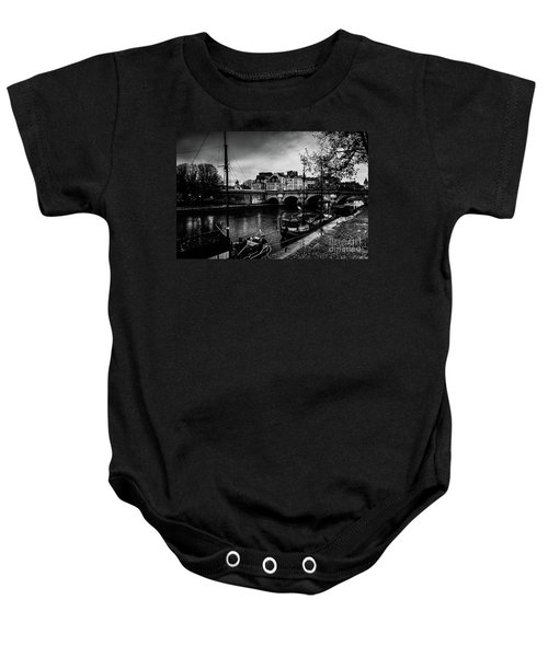 Paris At Night - Seine River Towards Pont Neuf Baby Onesie