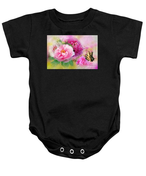 Baby Onesie featuring the mixed media Peonies And Butterfly by Morag Bates