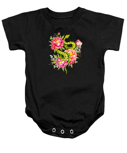 Peony Blossoms Buds And A Green Garden Snake Baby Onesie