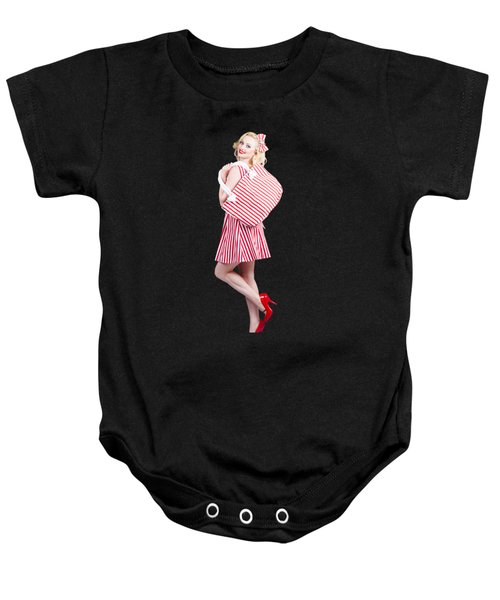 Pin Up Girl Wearing Stripped Red Dress Holding Bag Baby Onesie