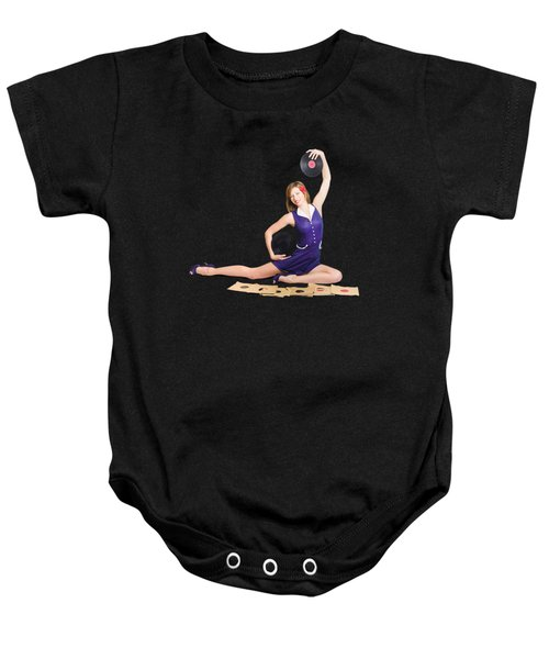 Pin-up Woman Balancing Sound With Record Music Baby Onesie