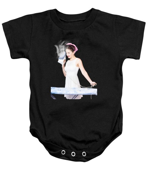 Baby Onesie featuring the photograph Pin Up Woman Providing Steam Clean Ironing Service by Jorgo Photography - Wall Art Gallery