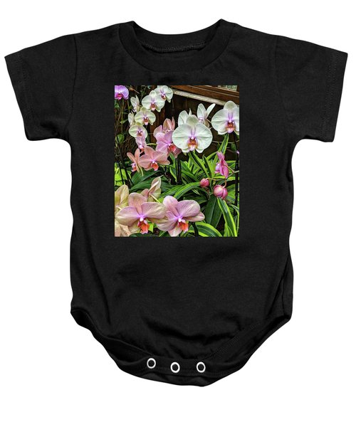 Pink And  White Orchids Baby Onesie