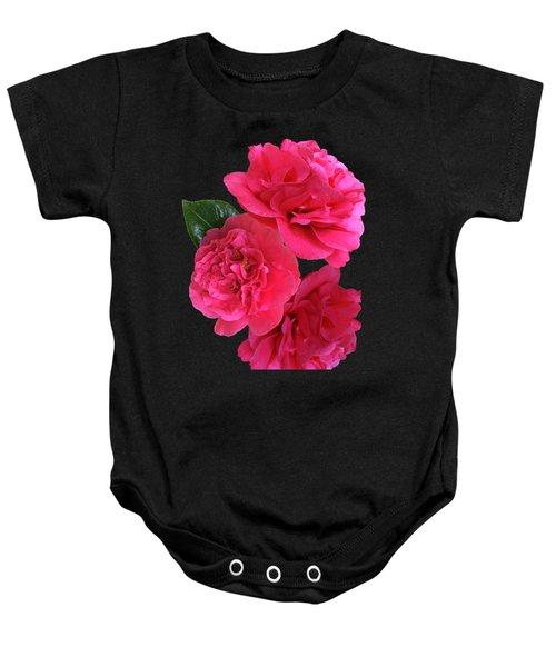 Pink Camellia On Black Vertical Baby Onesie