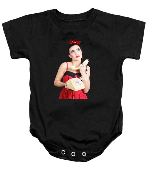 Pinup Woman Chatting On Yellow Telephone Baby Onesie