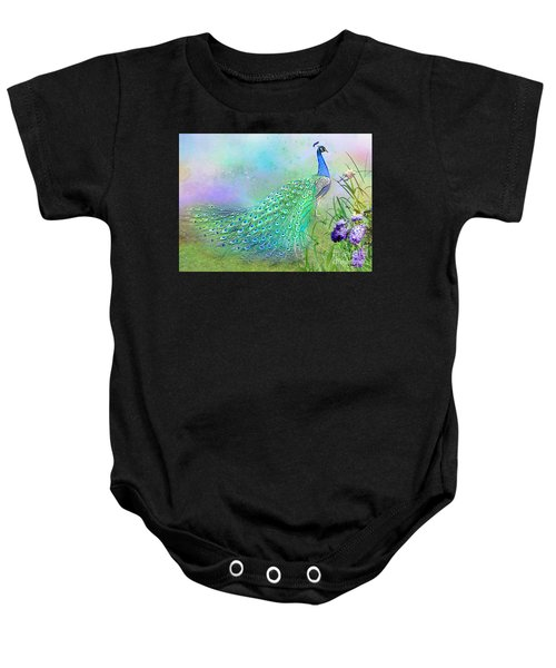 Baby Onesie featuring the mixed media Proud Peacock by Morag Bates