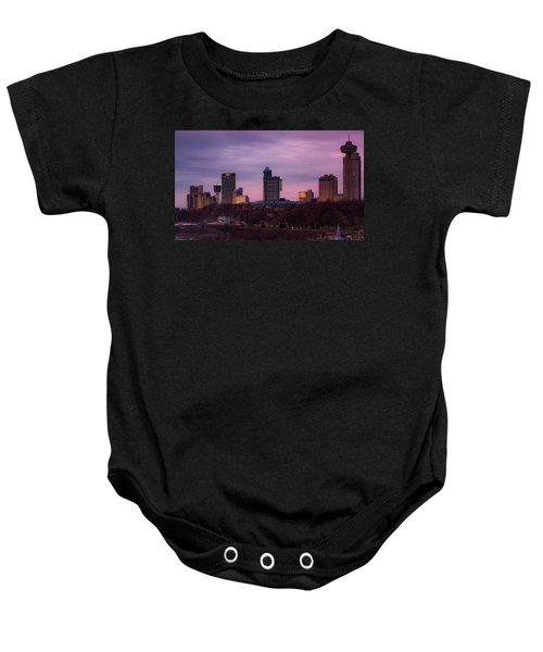 Purple Haze Skyline Baby Onesie