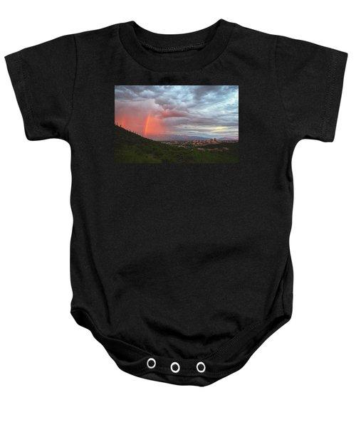 Rainbow Over Tucson Skyline Baby Onesie