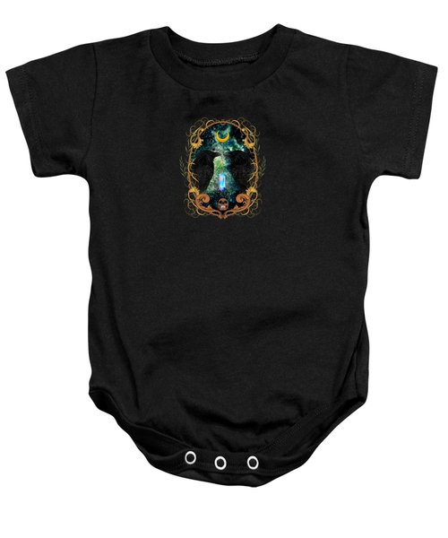 Raven Moon Oracle With Crystal  Baby Onesie