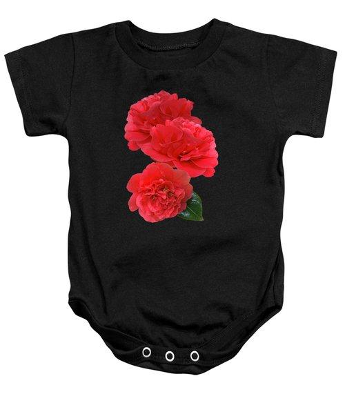 Red Camellias On Black Vertical Baby Onesie