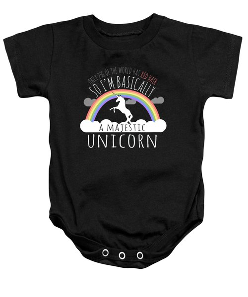 Red Hair Majestic Unicorn Funny Redhead Baby Onesie