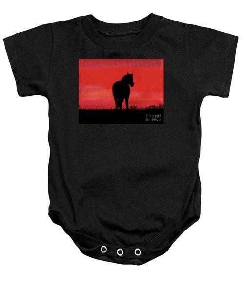 Red Sunset Horse Baby Onesie