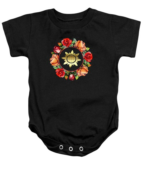 Ring Wreath Of Red Roses And Gold Crest Baby Onesie