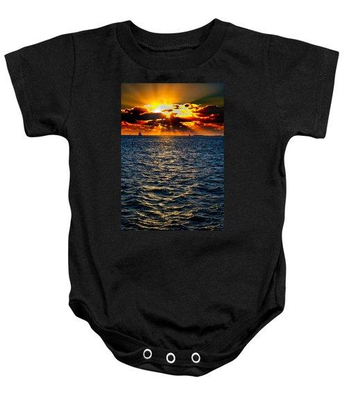 Sailboat Sunburst Baby Onesie