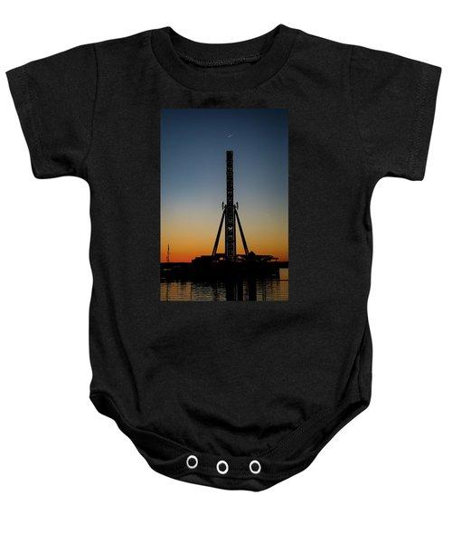 Silhouette Of A Ferris Wheel Baby Onesie