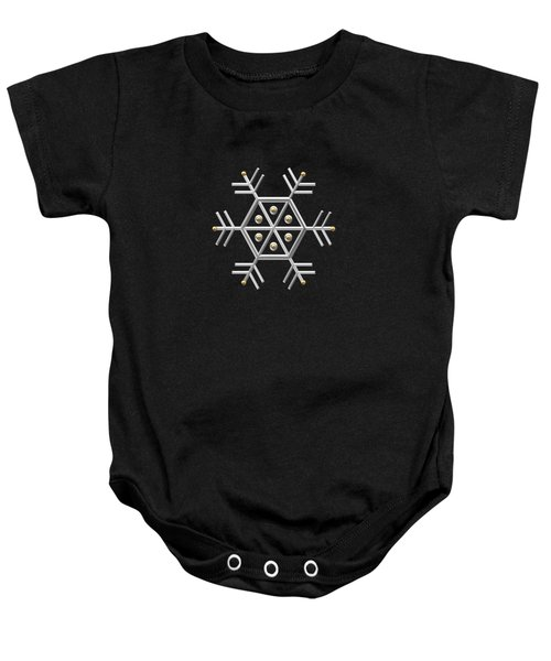 Silver And Gold Snowflake 2 At Midnight Baby Onesie