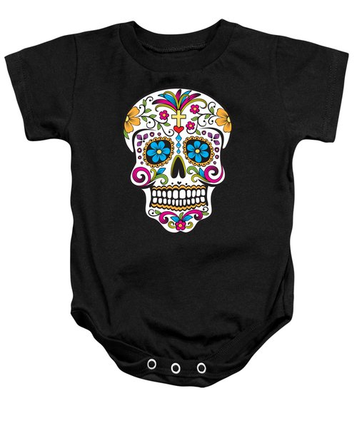 Baby Onesie featuring the digital art Sugar Skull Day Of The Dead by Flippin Sweet Gear