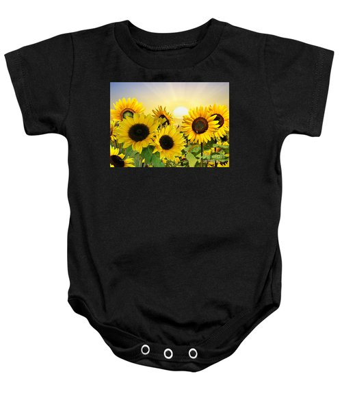 Baby Onesie featuring the mixed media Sunflowers And Sunshine by Morag Bates
