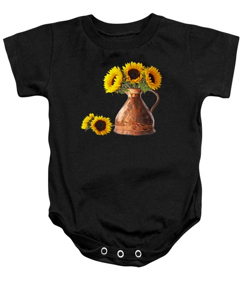 Sunflowers In Copper Pitcher On Black Square Baby Onesie