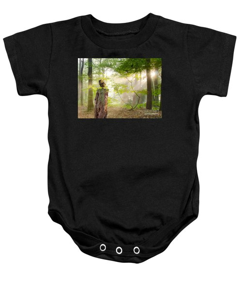Baby Onesie featuring the pyrography The Enchanted Forrest by Morag Bates