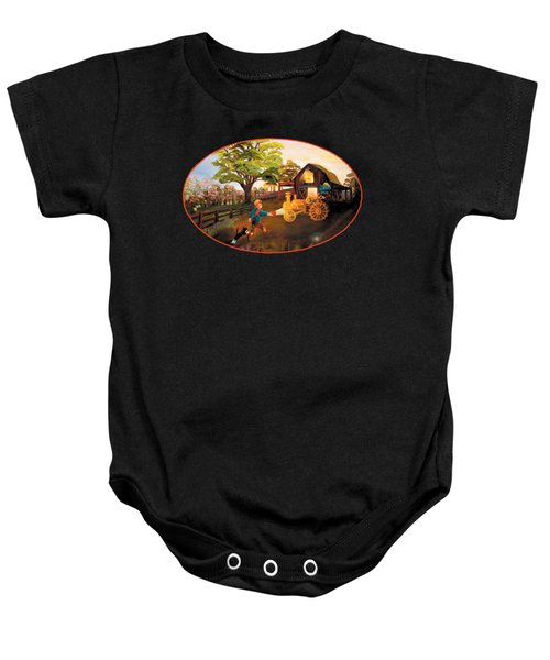 Tractor And Barn Baby Onesie