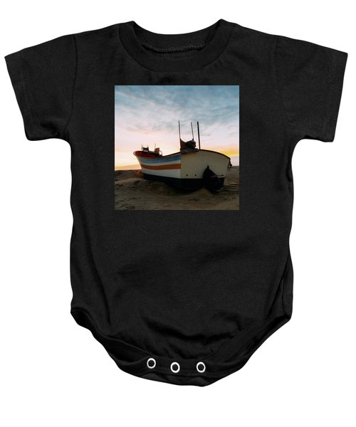 Traditional Wooden Fishing Boat Baby Onesie