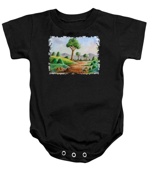 Trees And Flowers Baby Onesie