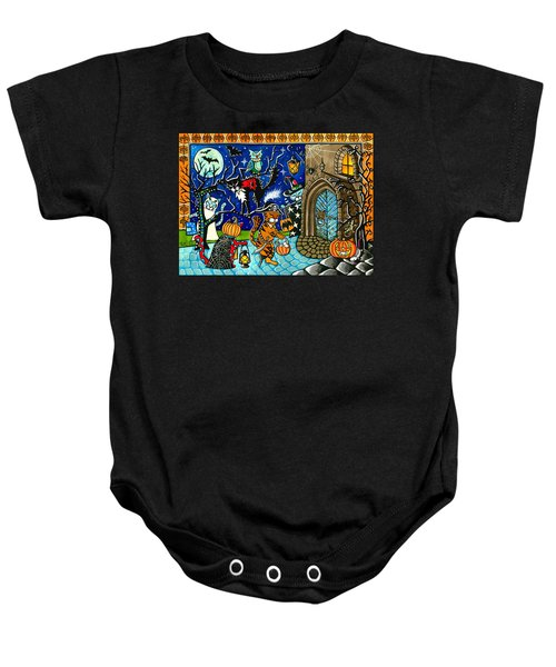 Trick Or Treat Halloween Cats Baby Onesie