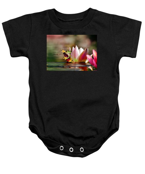 Baby Onesie featuring the mixed media Water Lily And Frog by Morag Bates