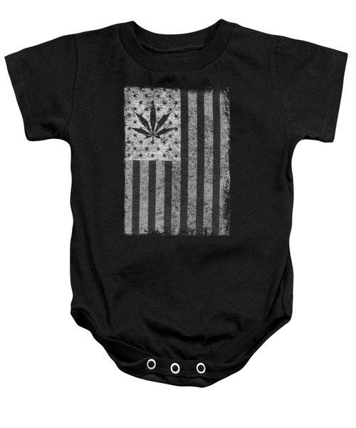 Weed Leaf American Flag Us Baby Onesie