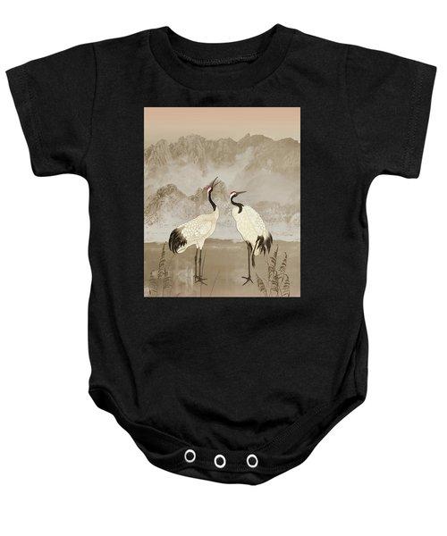 Wintering Manchurian Cranes Baby Onesie