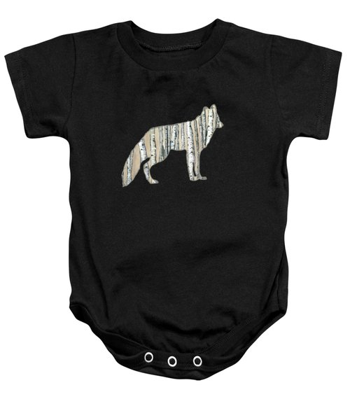 Woods Forest Lodge Wolf With Aspen Trees Baby Onesie