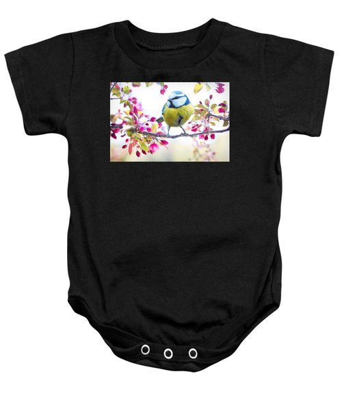 Yellow Blue Bird With Flowers Baby Onesie