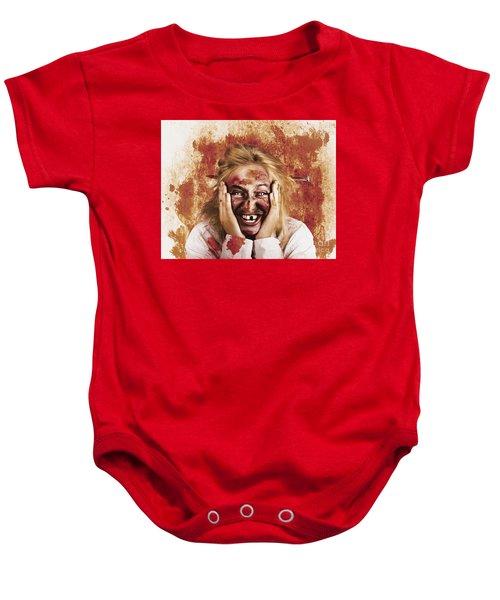Chilling Female Halloween Spook. Grunge Horror Baby Onesie