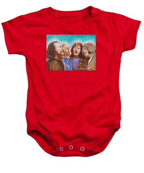 Crosby Stills Nash And Young Baby Onesie by Kean Butterfield