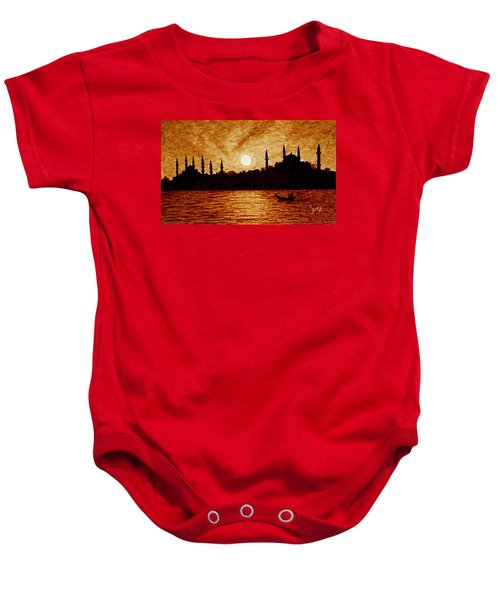Baby Onesie featuring the painting Sunset Over Istanbul Original Coffee Painting by Georgeta  Blanaru