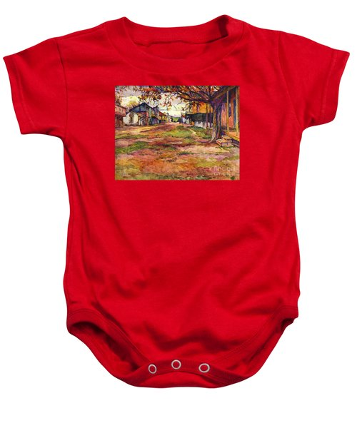 Main Street Of Early Spanish California Days San Juan Bautista Rowena M Abdy Early California Artist Baby Onesie