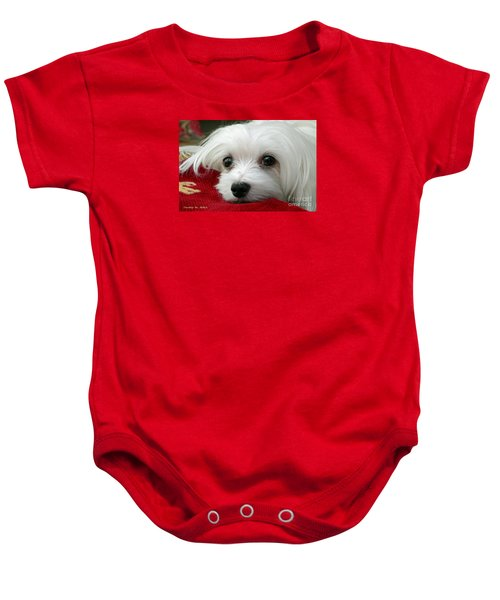 Baby Onesie featuring the mixed media Snowdrop The Maltese by Morag Bates