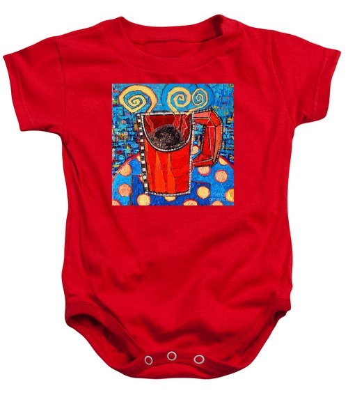 Abstract Hot Coffee In Red Mug Baby Onesie
