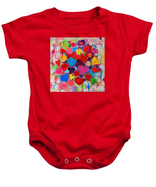 Abstract Love Bouquet Of Colorful Hearts And Flowers Baby Onesie
