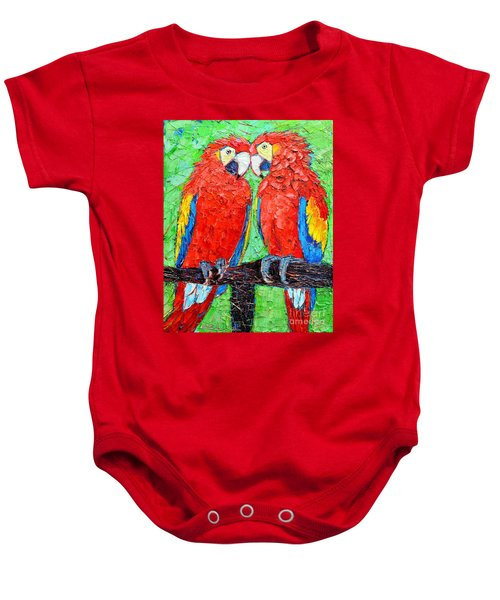 Ara Love A Moment Of Tenderness Between Two Scarlet Macaw Parrots Baby Onesie
