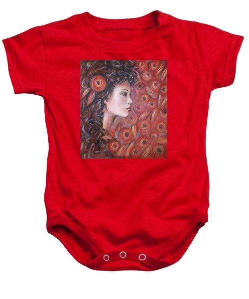Asian Dream In Red Flowers 010809 Baby Onesie
