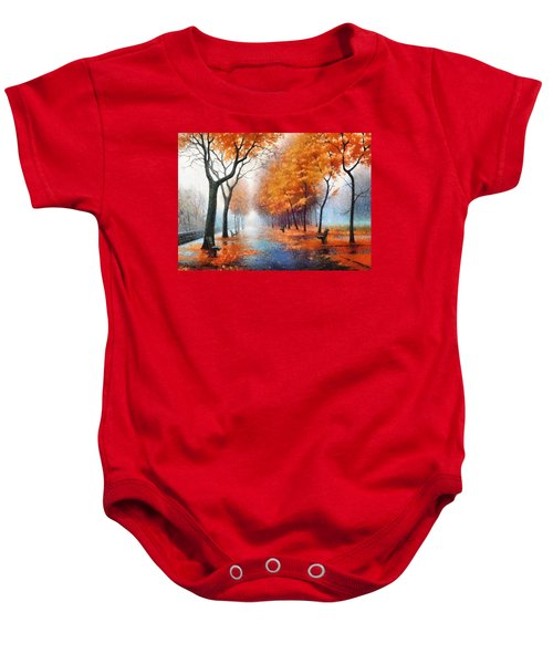 Baby Onesie featuring the photograph Autumn Boulevard by Charmaine Zoe