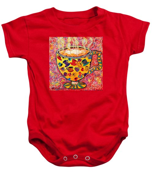 Cafe Latte - Coffee Cup With Colorful Coffee Cups Some Pink And Bubbles  Baby Onesie