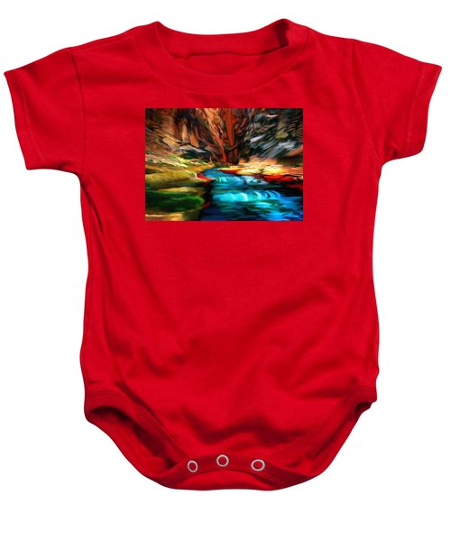 Canyon Waterfall Impressions Baby Onesie
