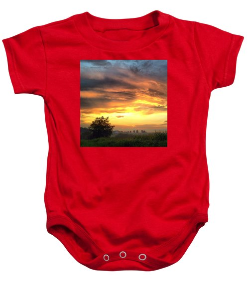 Country Scene From Hilltop To Hilltop Baby Onesie