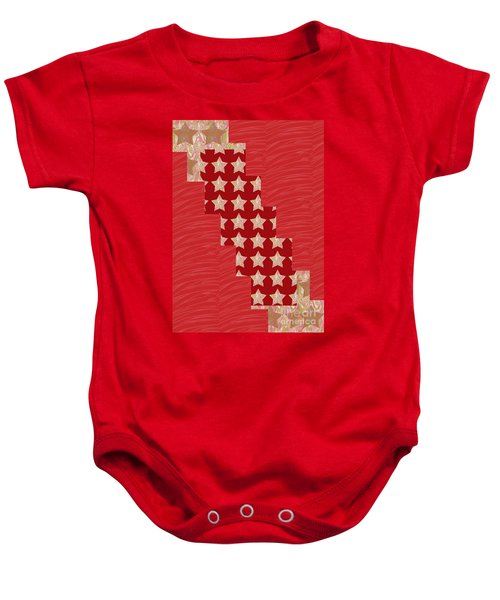 Cross Through Sparkle Stars On Red Silken Base Baby Onesie by Navin Joshi