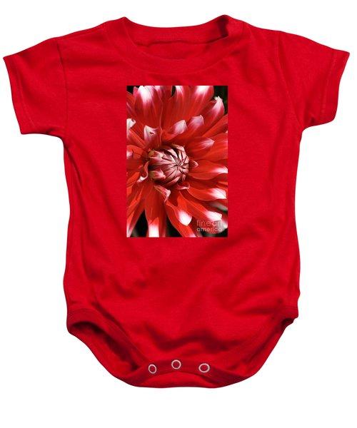 Flower- Dahlia-red-white Baby Onesie